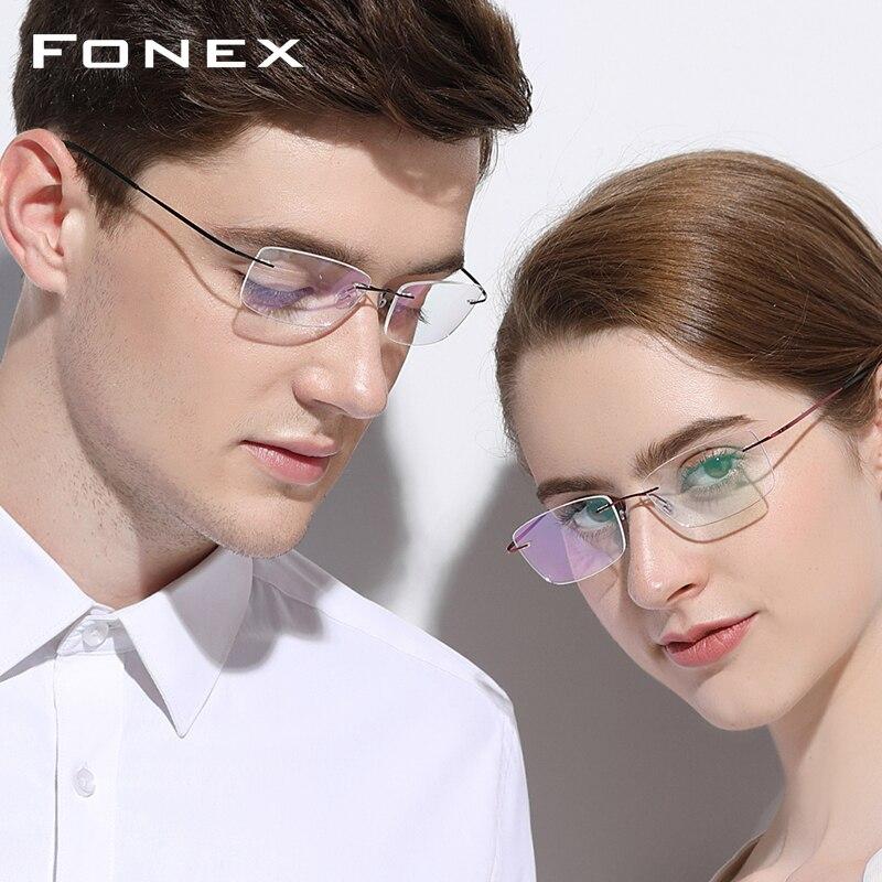 B titane sans monture sans cadre lunettes de Prescription hommes femmes ultra-léger lunettes myopie cadre optique sans vis lunettes 9203 - 2