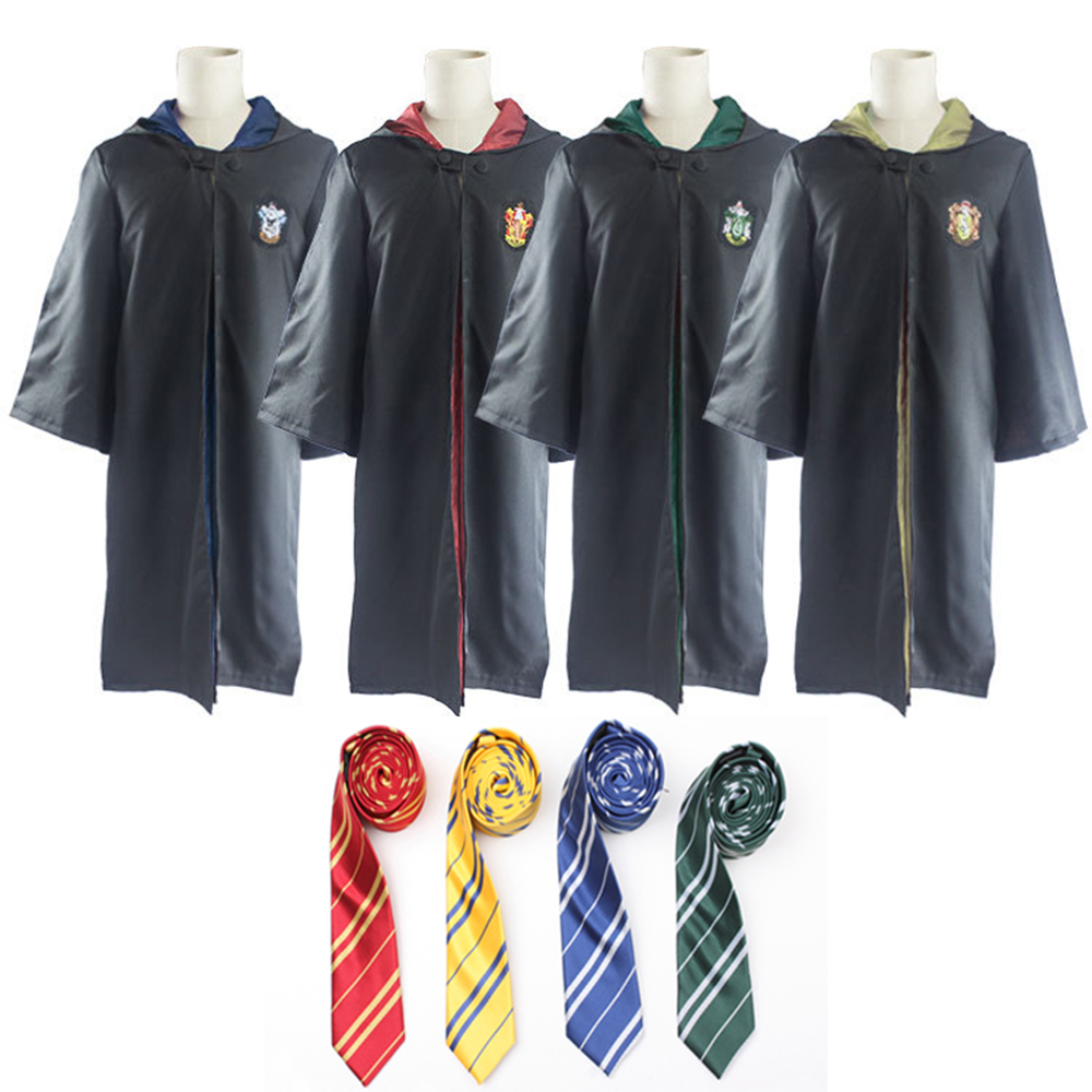 Garry Potter Robe Cape Cloak Gryffindor/SlytherinRavenclaw/Hufflepuff Robe Cosplay Costumes Kids Adult 11 Size