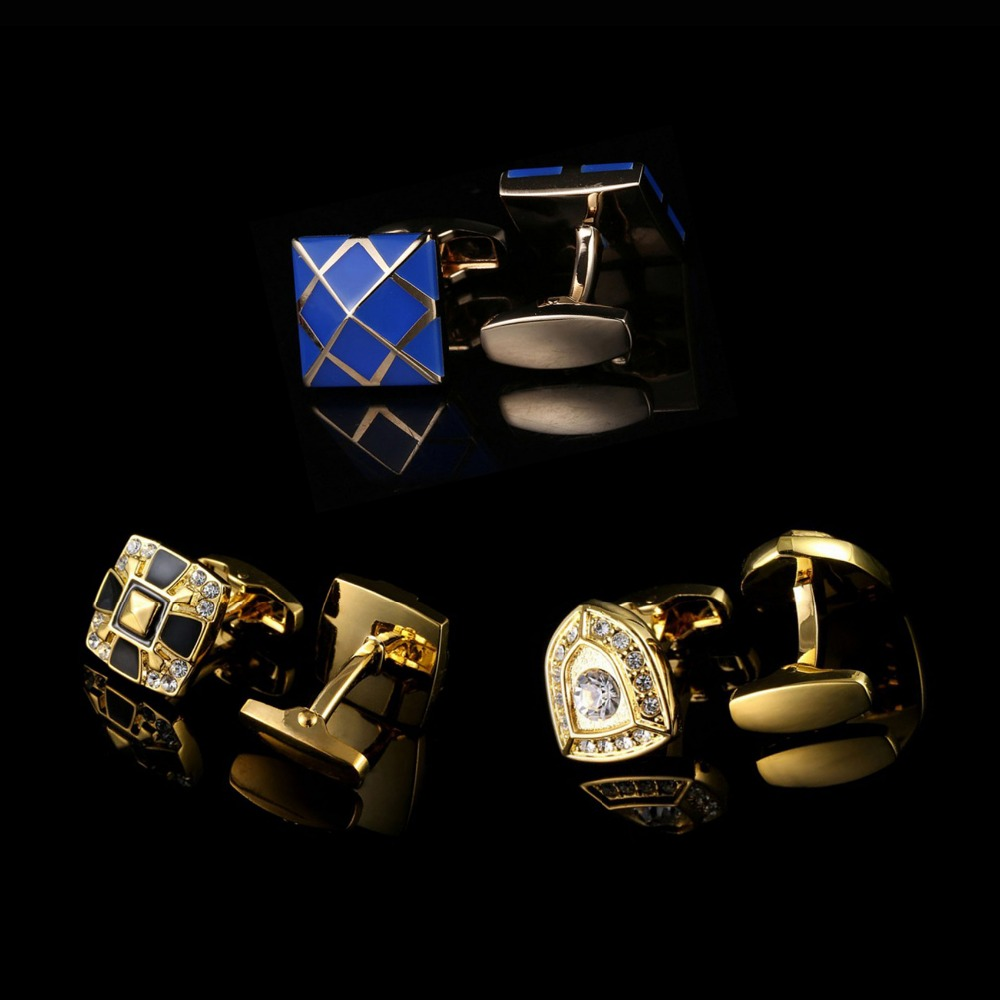 Luxury Cuff links Shirts High Quality Designer Cufflinks Blank Blue French Suit Accessories Men Jewellery Fathers Day Gifts