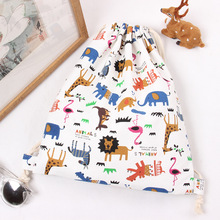 Original Cartoon Drawstring Bag Animal Print Zoo Student Shoes Bag Cute Canvas Travel Storage Shoulder Drawstring Backpack