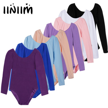 iiniim Girls Long Sleeve Ballet Dancer Leotard Dress for Dance Class Gymnastic Exercise Stage Performance Tutu Clothing - discount item  32% OFF Stage & Dance Wear