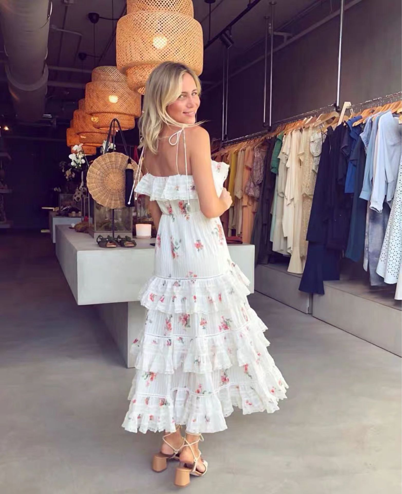 Cuerly High Quality 2019 summer women Spaghetti Strap dress Fashion Print Runway Lace Ruffles cake Strapless sleeveless dresses in Dresses from Women 39 s Clothing