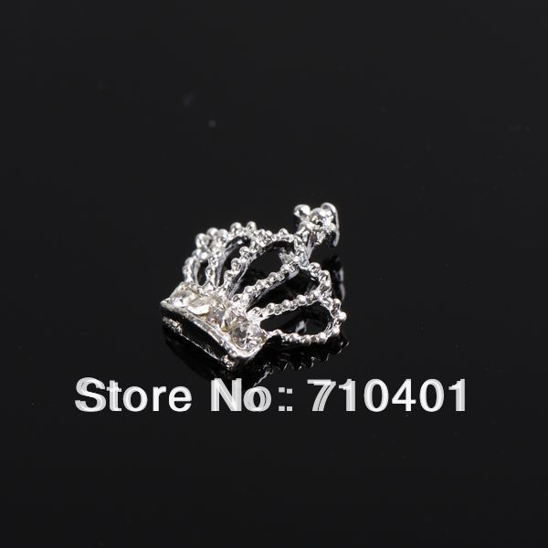 Xmas Item Free Shipping Wholesale/Nails Supplier, 50pcs 3D Alloy New Sliver Crown DIY Acrylic UV Gel Polish Nail Design/Nail Art