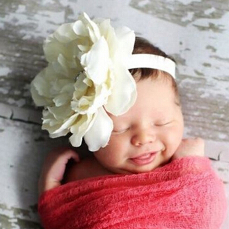 8 Colors Kids Peony Flowers Headband Girls Floral Headband Newborn Hair Bow Weave   Headwear   Hair Band Accessories