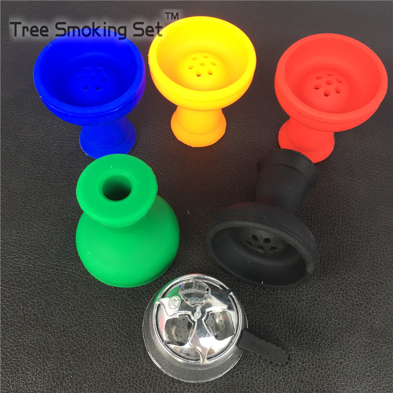1 pc silicone hookah bowl and 1 pc aluminum alloy charcoal Holder Chicha With Silicone Hose Connection Types Accessories <font><b>smoking</b></font>