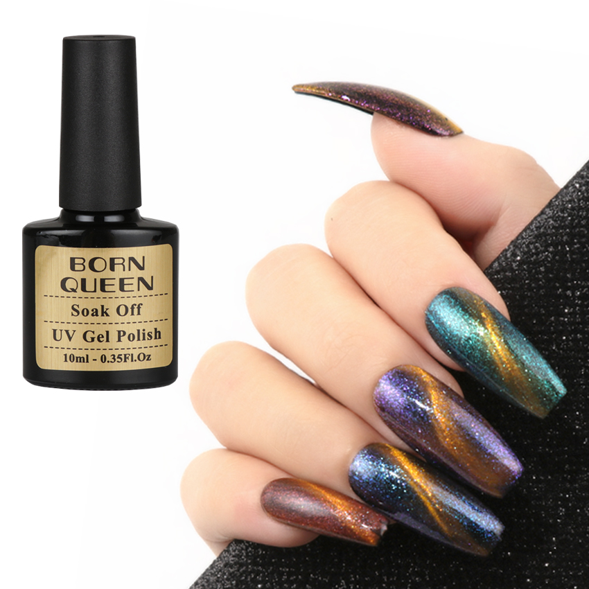Queen Gel Nail Polish: BORN QUEEN 10ml Chameleon 3D Cat Eye Nail Gel Polish