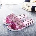 NOVAS verão novas mulheres plana chinelos em casa moda deslizamento do falhanço de aleta de cristal, frete Grátis