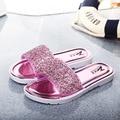 NUEVO verano nuevo mujeres cristalinos de la manera antideslizantes flip flop plana zapatillas en casa, envío Gratis