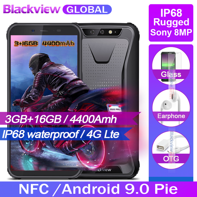 "New arrival Blackview BV5500 PRO IP68 Waterproof Rugged Smartphone 3GB 16GB 5.5"" Screen 4400mAh Android 9.0 pie 4G Mobile Phone"