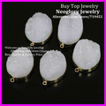5PCS Fashion Jewelry Tow Circle Natural White Druzy Crystal Pendant Drusy Agate Quartz Connector fit Jewelry making