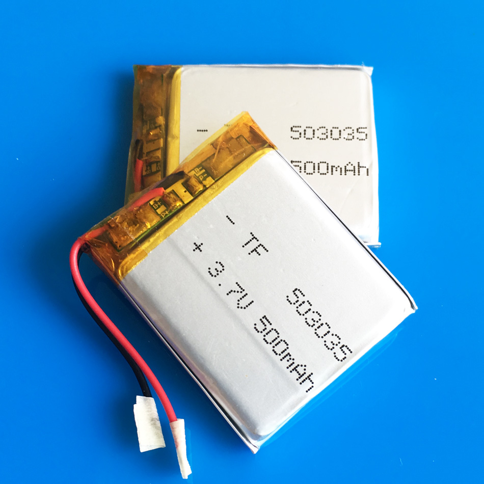 2 pcs <font><b>3.7V</b></font> <font><b>500mAh</b></font> <font><b>503035</b></font> Lipo <font><b>battery</b></font> polymer lithium rechargeable <font><b>battery</b></font> for MP3 MP4 GPS DVD bluetooth recorder e-book camera image