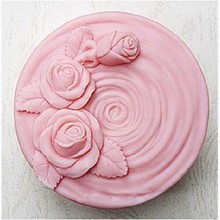 Round 3D flower pattern soap silicone mold