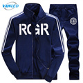2017 Sportswear New Fashion Hoodies With Zipper Men Letter Printing Male Sweatshirt Men Tracksuit Suits Mens Hoodies + Pants 4XL