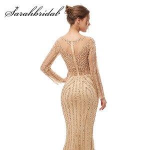 Image 5 - Luxe manches longues robes de soirée 2021 O cou Illusion fermeture éclair élégant sirène perles paillettes robe de bal avec Train CC5405
