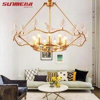 Creative Bird Copper Chandeliers For living Room Bedroom New Art Deco America Chandelier Modern Led Lighting Fixtures