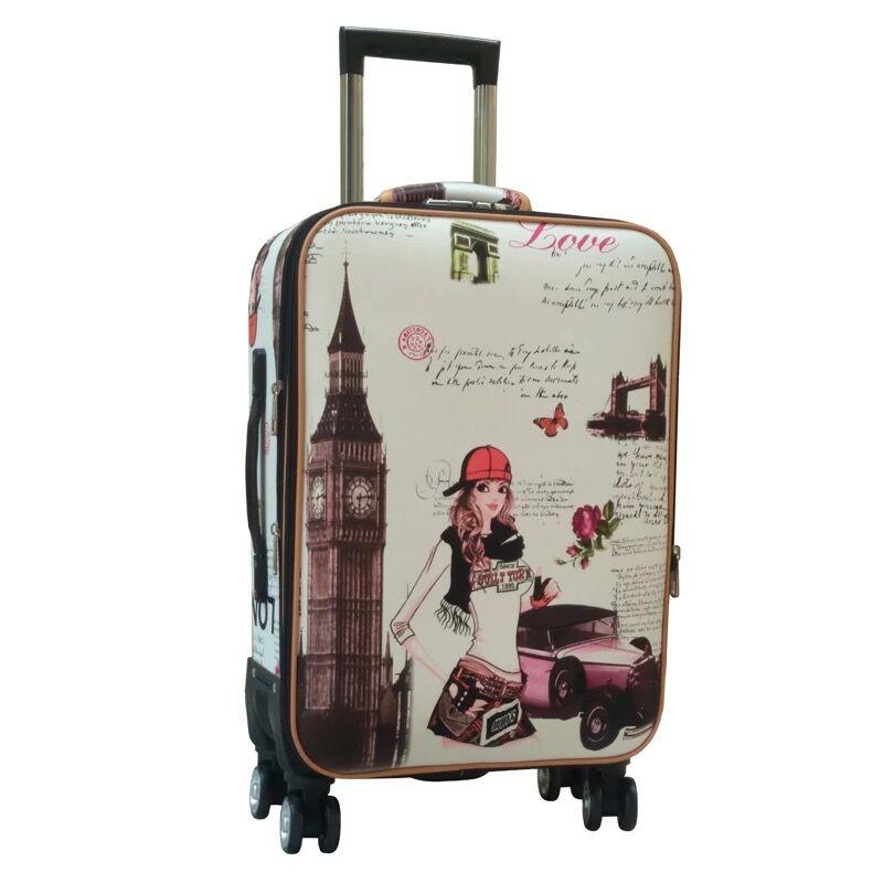 Kobiety Rainbow paski podróży torba na bagaż Spinner mężczyźni toczenia bagaż na kółkach studentów 20 24 Cal walizka torba podróżna na kółkach w Walizka na kółkach od Bagaże i torby na  Grupa 1