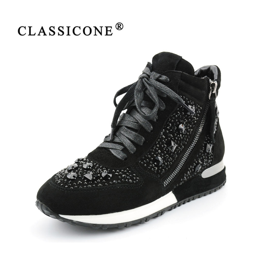 CLASSICONE 2017 sneakers woman Winter ankle boots genuine leather suede warm wool flats boots shoes women's brand fashion style serene handmade winter warm socks boots fashion british style leather retro tooling ankle men shoes size38 44 snow male footwear
