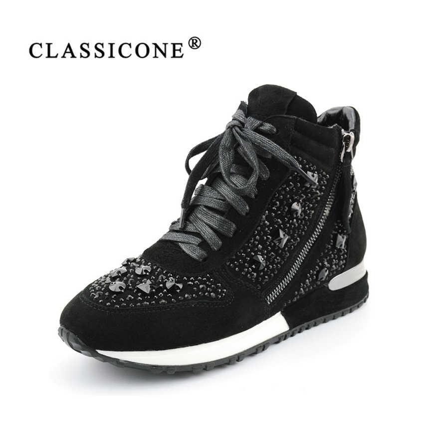 24059a576 Classicone женская спортивная обувь модные женские зимние кроссовки  натуральная замша кожа черный серый новинка женские зимние