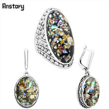 Oval Shell Jewelry Set Necklace Earrings Rings For Women Flower Pendant Antique Silver Plated Stainless Steel Chain Gift TS353