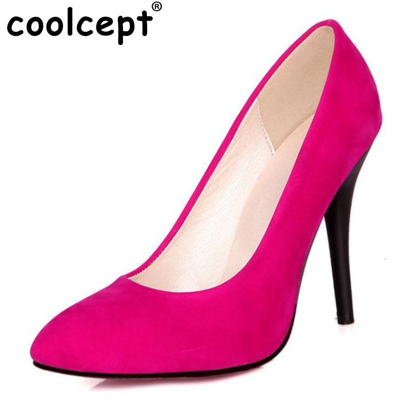 Coolcept Spring Vintage Women Pumps Elegant Fashion High Heels Slip-on Shoes Heeled Sexy Pointed Toe Ladies Shoes Size 31-43 hot sale 2016 new fashion spring women flats black shoes ladies pointed toe slip on flat women s shoes size 33 43