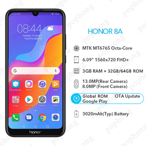 Image 3 - Honra global do firmware 8a telefone móvel 6.09 polegada 3 gb 32 mtk6765 octa núcleo android 9.0 3020 mah rosto desbloquear 1560x720