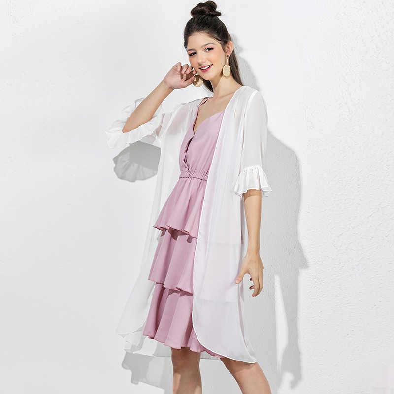 ZINMIN тонкая летняя блуза белая для женщин Летняя Праздничная Повседневная пляжный кардиган длинная шифоновая блузка свободного покроя Верхняя одежда рубашка