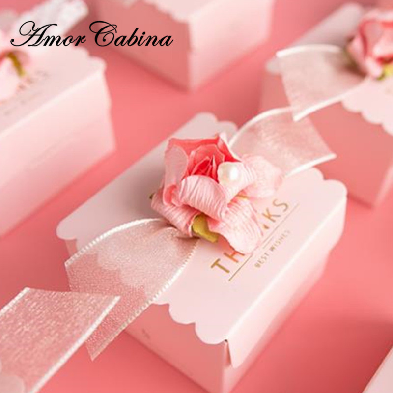 50pcs Creative pink romantic wedding like candy box Bomboniera thanks chocolate box baby shower party supplies