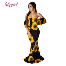 Sexy Suudress Floral Print Strapless Holiday Long Dress Women Casual Off Shoulder Backless Evening Party Dresses Beach Vestidos