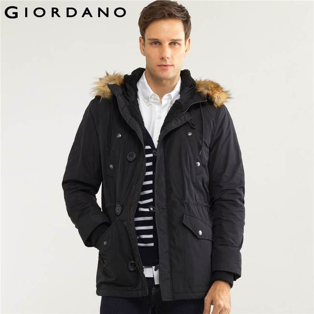 2361dc026a Giordano Men Jacket Military Fleece-Lined Parka Faux Fur Hooded for Men  Casual Slim Winter Coat Male Chaquetas Hombre