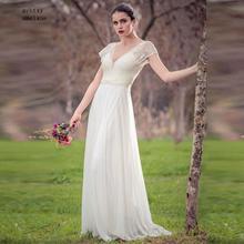 キャップスリーブビーチ格安ウェディングドレス2020 vネックaライン床の長さホワイトアイボリーレースとサッシ花嫁衣装