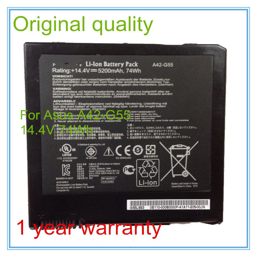 14.4V 74Wh Original A42-G55 Battery for G55V G55VM G55VW Laptop new genuine 14 4v 5200mah 74wh 8 cells a42 g55 notebook li ion battery pack for asus g55 g55v g55vm g55vw laptop