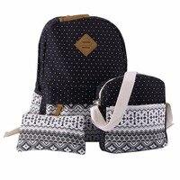 3 Pcs Set Teenagers Girls Fashion Polka Dot Women Outdoor Backpack Handbag Shoulder Bag Printing
