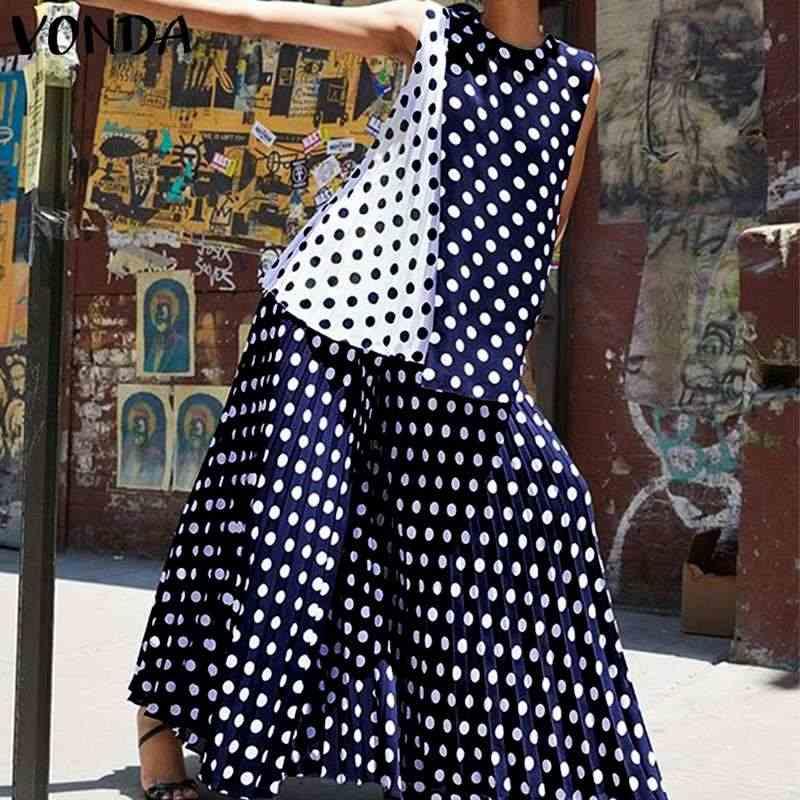 VONDA женские комплекты из 2 предметов богемное платье повседневное свободное платье в горошек с принтом без рукавов Танк Топы + платье 2019 пляжная летняя одежда плюс размер