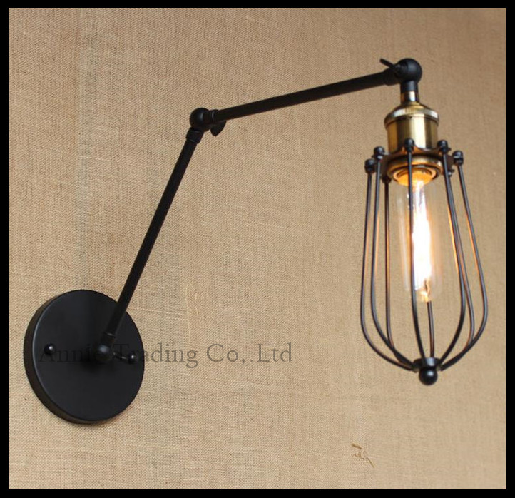 Vintage Black double swing arms adjustable wall lamp living room dining kitchen bedroom decorated lights house lighting fixtures double black бермуды