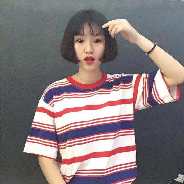 ab9af069785 2019 New Summer Korean Harajuku Women T-Shirt Loose Striped Short Sleeve O-Neck  Top Tee Fashion Casual Female T-Shirt