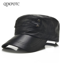 QDKPOTC 2018 Real Sheepskin Hat Middle-aged Mens Spring Autumn Outdoor Flat Top Single Layer Thin Section Hats
