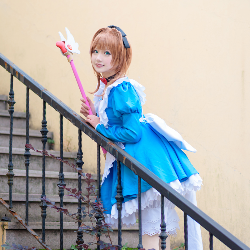[Dec.Stock]Anime Sakura Card captor Sakura Alice Maid Dress Uniform Halloween Cosplay costume Lolita Dress for women free ship