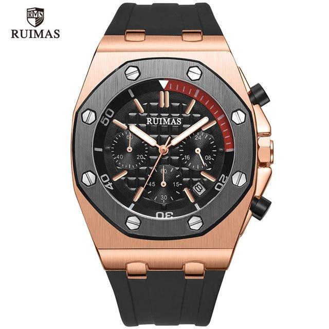 RUIMAS 24 Hours Quartz Watches Men Luxury Sports Army Chronograph Wristwatch Top Brand Relogios Masculino Clock Watch R540 Rose
