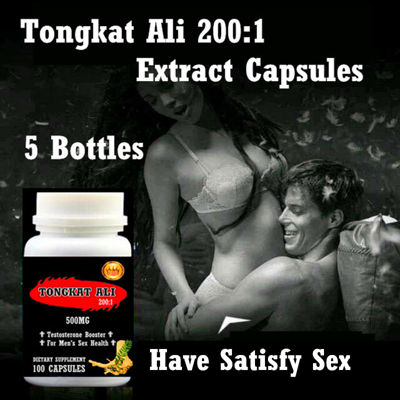 5 BOTTLES TONGKAT ALI 200:1 FOR MEN OR MALE,100PCS/BOTTLE,FREE SHIPPING AND DUTY - REAL MAN NEED HAVE 200 1 tongkat ali strong prolonged erections plant viagra for men free shipping and tax