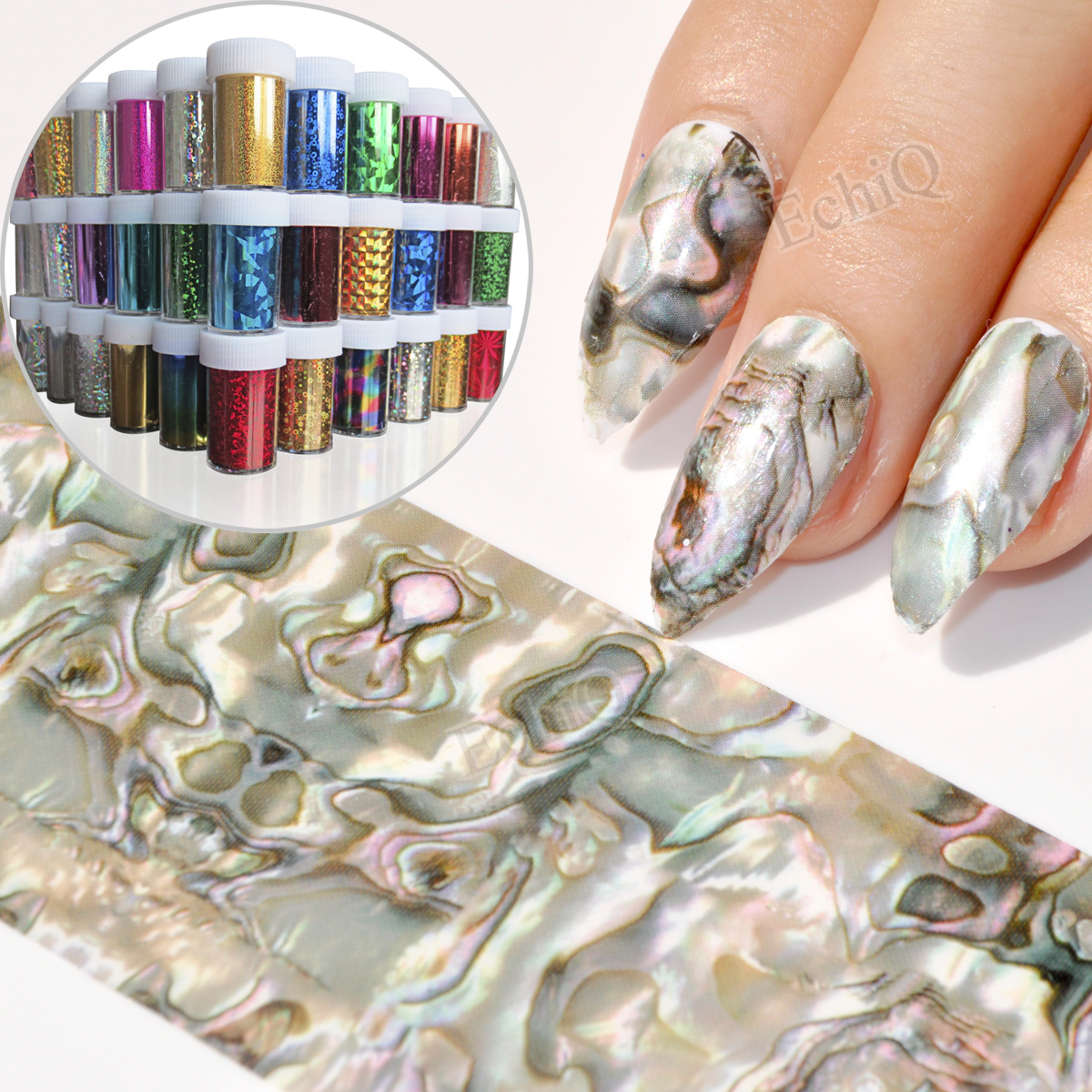 Galaxy serie Nail Folie Sparkly Roze Goud Bruin Paars Nail Lijm ...