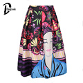 Daylook Autumn Skirt Women Print High Waist Midi Pleated Skirt Casual Style Warm Vintage Elegant Knee-Length