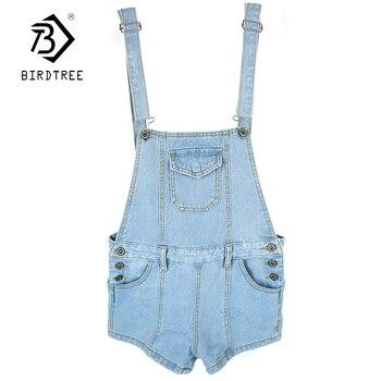 Denim strap Jumpsuits Sweet fashion Ladies Korean Preppy Style Shorts