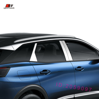 6 Pcs Car Styling Fit For 2017 Peugeot 3008 GT Accessories Stainless Steel Pillar Posts Specular Mirror Trim Sticker