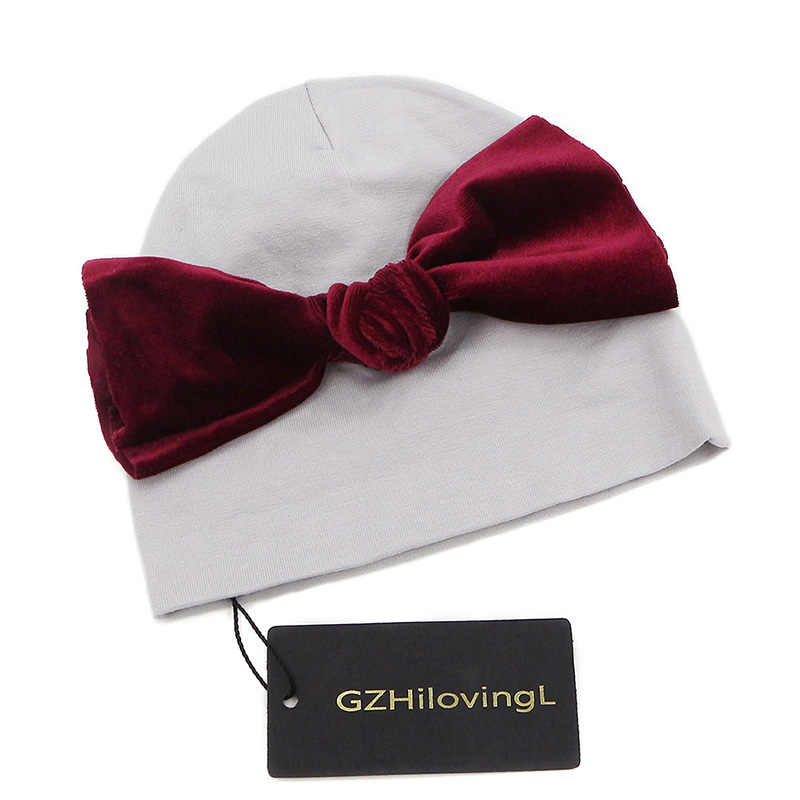 GZHilovingL/Бархатная Шапка-бини с бантом для маленьких мальчиков и девочек 0-5 месяцев, шапка, зимняя хлопковая шапка для маленьких девочек, аксессуары для новорожденных