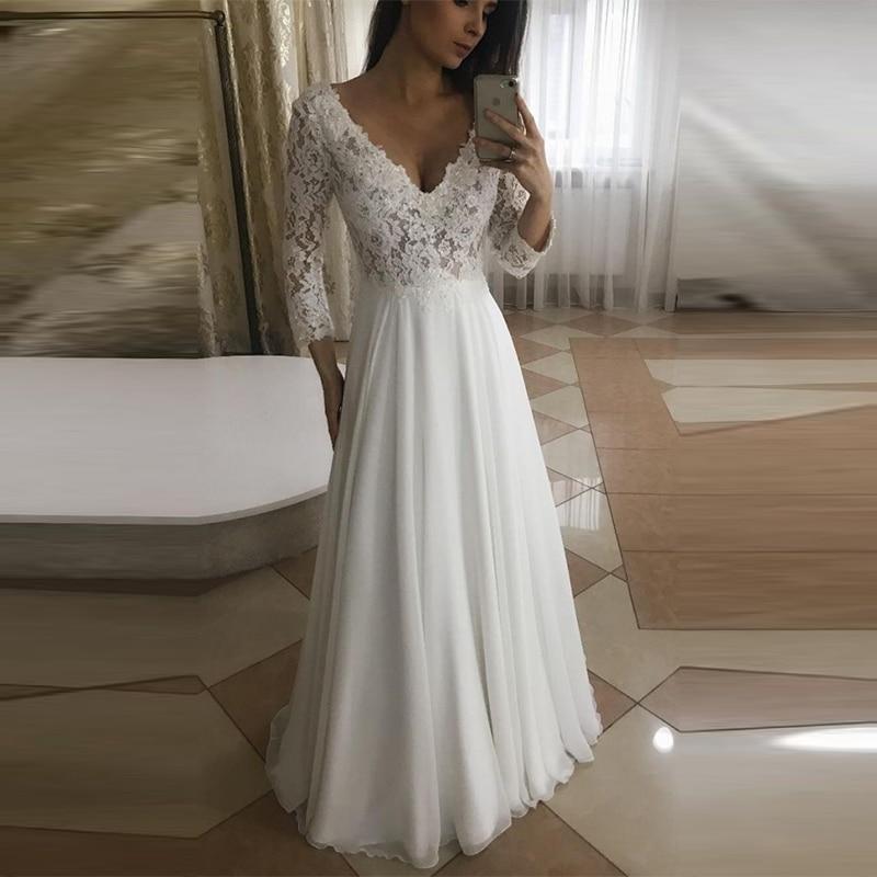 Vestido De Novia 2019 Long Sleeves Beach Wedding Dress Lace Chiffon Wedding Gown A line Sexy