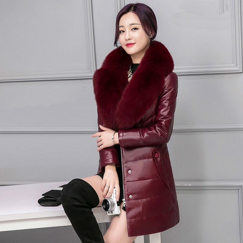 Big Fur Collar Coat Women 2016 Winter High Imitation Fox Fur Coats Long Sleeve Thick Warm PU Fabric Down Jacket Ladies Outwear winter fur coat 2015 new women imitation mink elegance long sleeve faux fur coats long jacket warm outwear with belt qy241