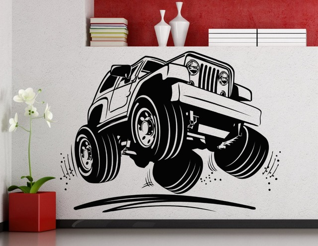Cool jeep car pattern art wall decals home livingroom modern decor fashion wall stickers huge car