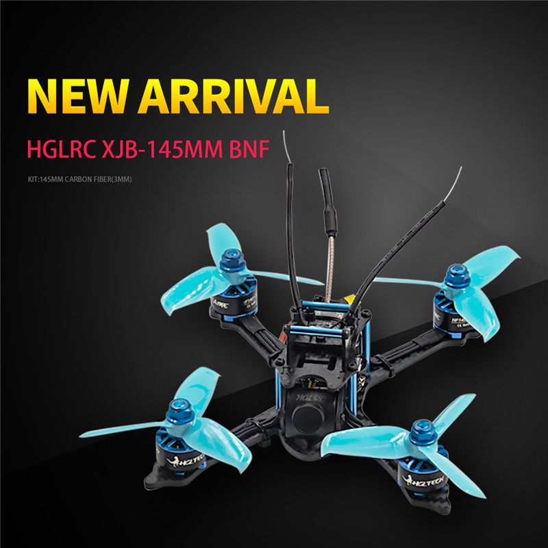 купить HGLRC XJB-145MM FPV Racing Drone BNF Compatible For FrSky XM+ Receiver F4 28A 2-4S Blheli_S ESC RC Quadcopter Blue Purple онлайн