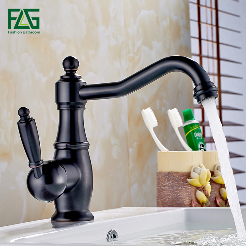 FLG Black Antique Bathroom Basin Faucet brass bathroom faucets single handle Hot and Cold Water Tap Deck Mounted Mixer Tap micoe hot and cold water basin faucet mixer single handle single hole modern style chrome tap square multi function m hc203