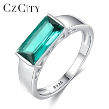 CZCITY New Design Big Pure 925 Sterling Silver Rings for Women Luxury Green Anillos Mujer Engagement & Wedding Accessories Gift